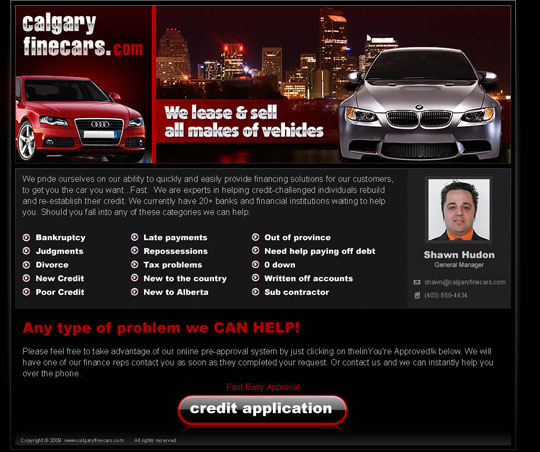 CalgaryFineCars.com - Website